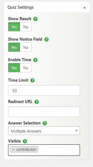 PRO - Advanced quiz settings