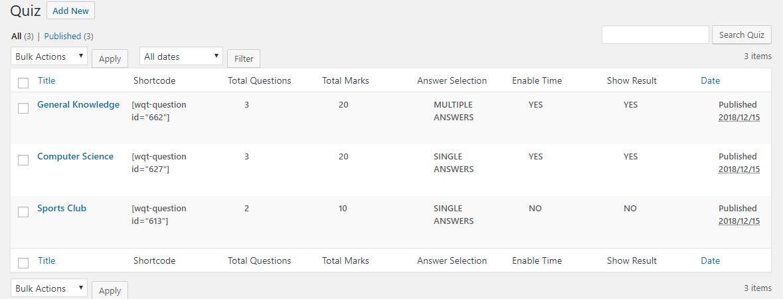 Admin - Quiz lists with info columns