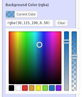 'RGBA Color Selector' in fancy text widget form.