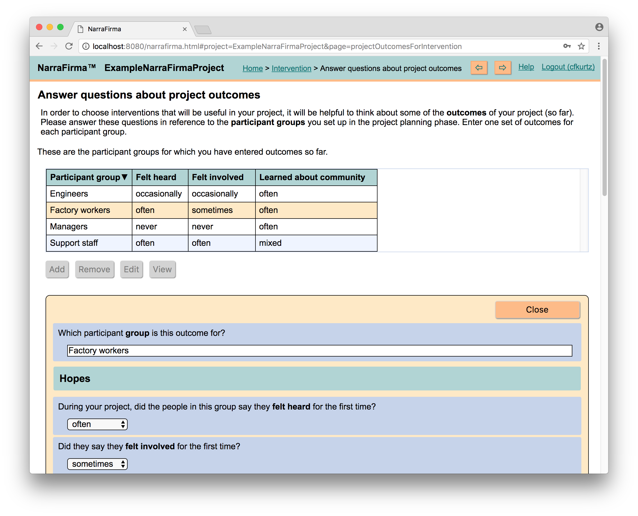 <p>Here the NarraFirma user is ansewring questions about the outcomes of the project for each participant group. Those outcomes will determine recommendations for interventions.</p>