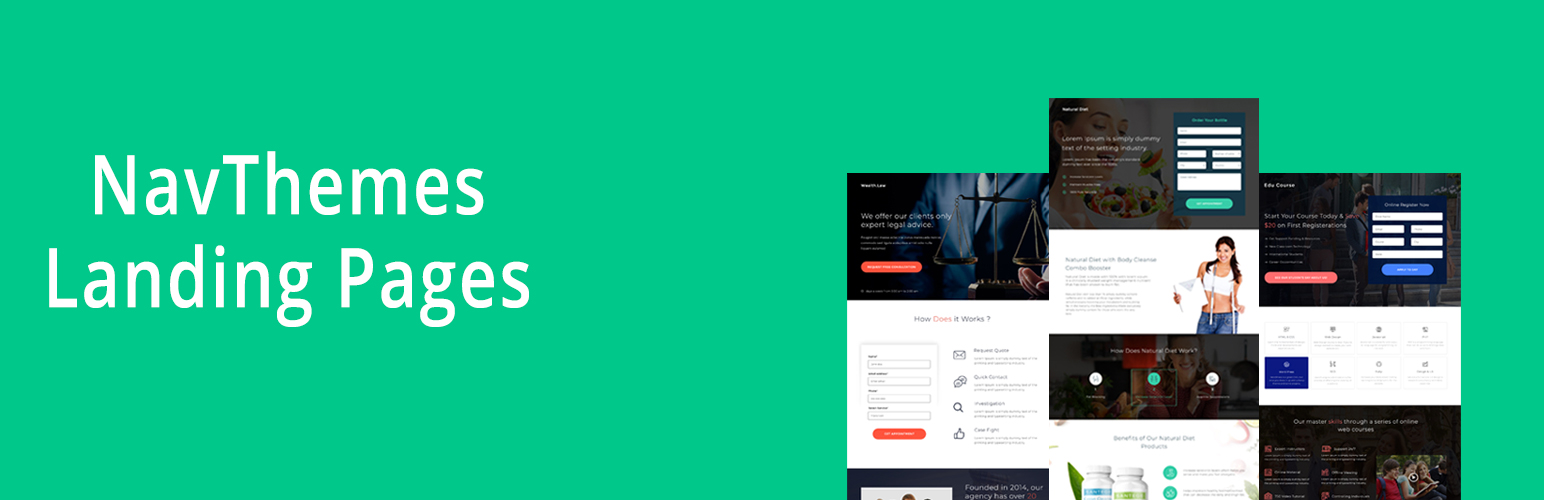 NavThemes Landing Pages – Free WordPress Landing Pages Plugin