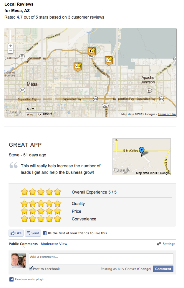 Example of the recent reviews plugin