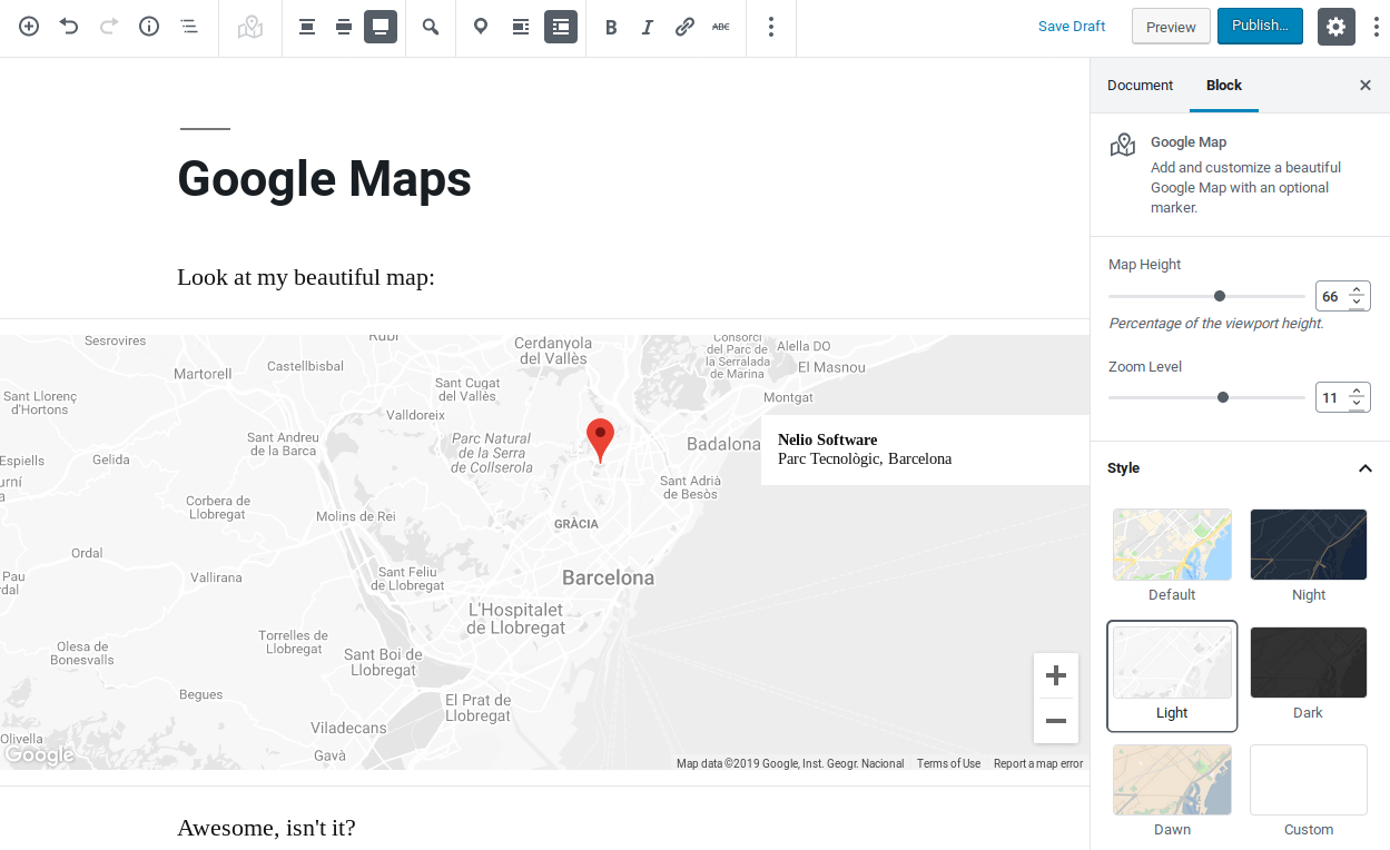 Add beautiful Google Maps in your pages or posts.