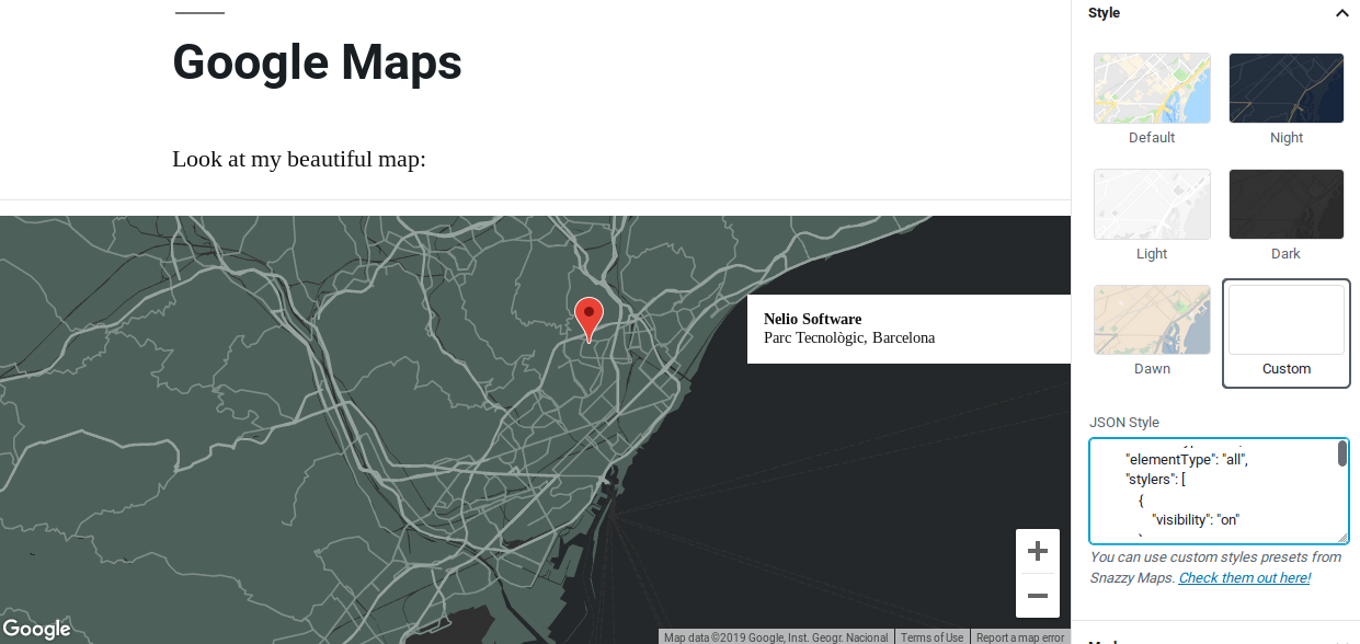 Change the style of your maps using one of the predefined styles or use your own.