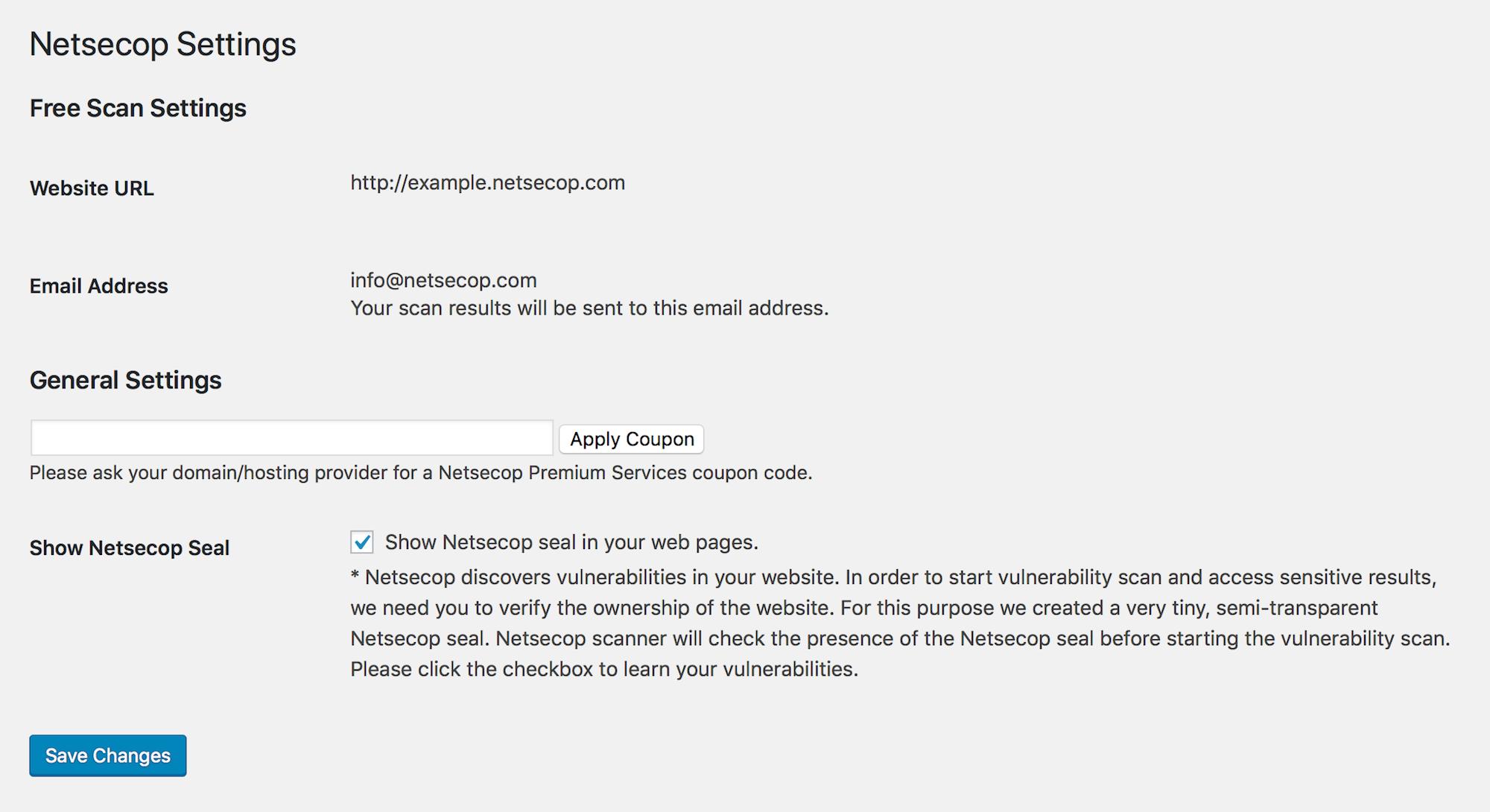 Netsecop Settings Page