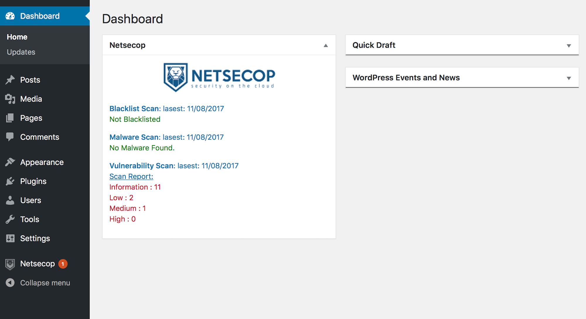 Netsecop Dashboard Widget