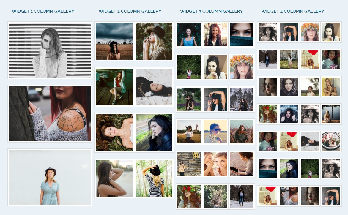 Widget Gallery With Multiple Columns Example