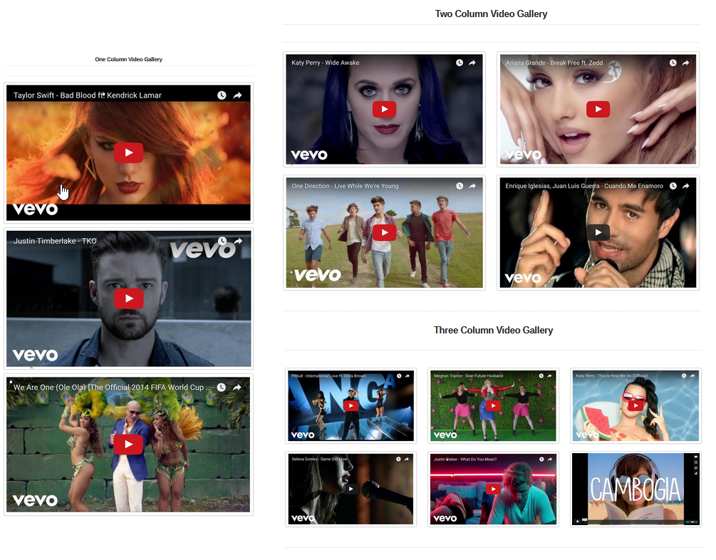 Video Gallery Columns Layout Preview