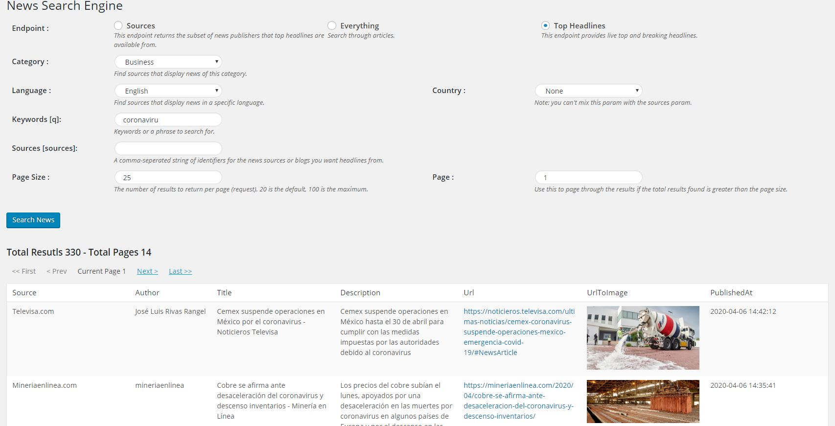 News Search Engine Top Headlines