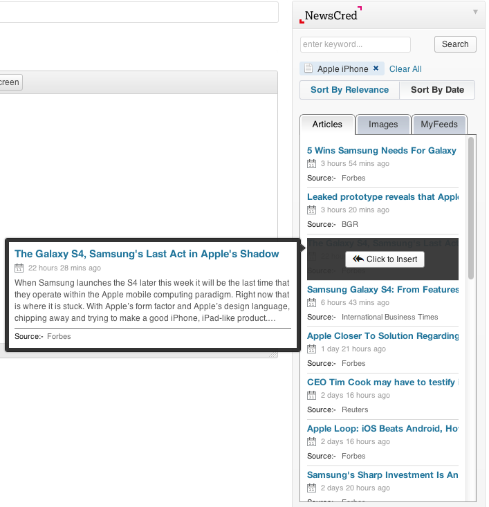 Search, insert and edit full text articles in your blog with easy to use filters.