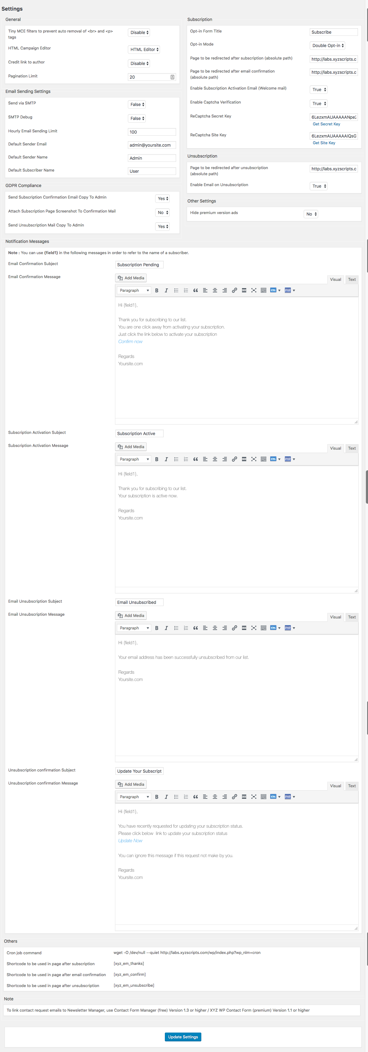 This is the configuration page where you can modify all the settings related to Newsletter Manager.