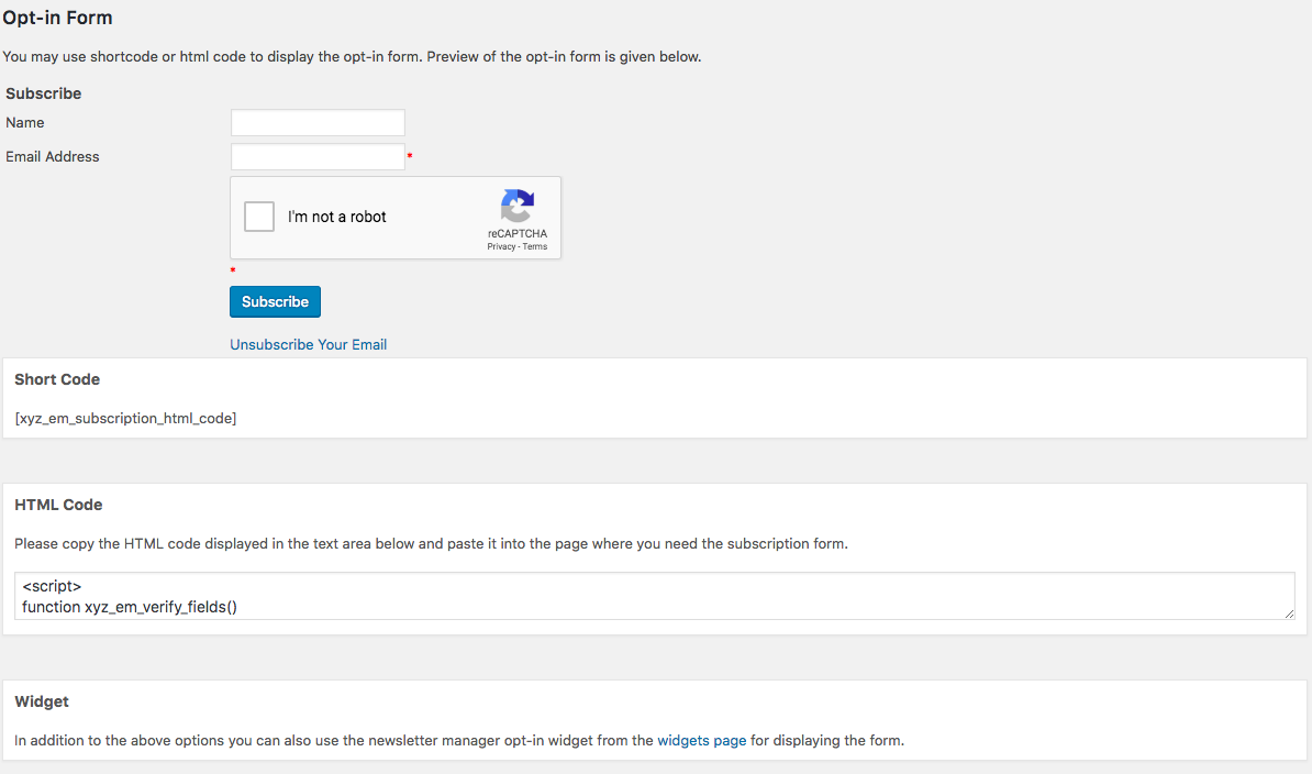 This is the opt-in form generation page.