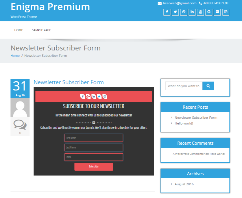 Newsletter Subscription Form in content