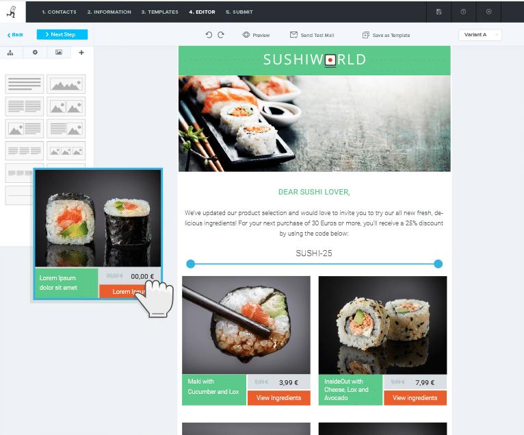 Per Drag&Drop können Sie im einfach zu bedienenden Editor im Handumdrehen Elemente einfügen und an die richtige Stelle rücken.