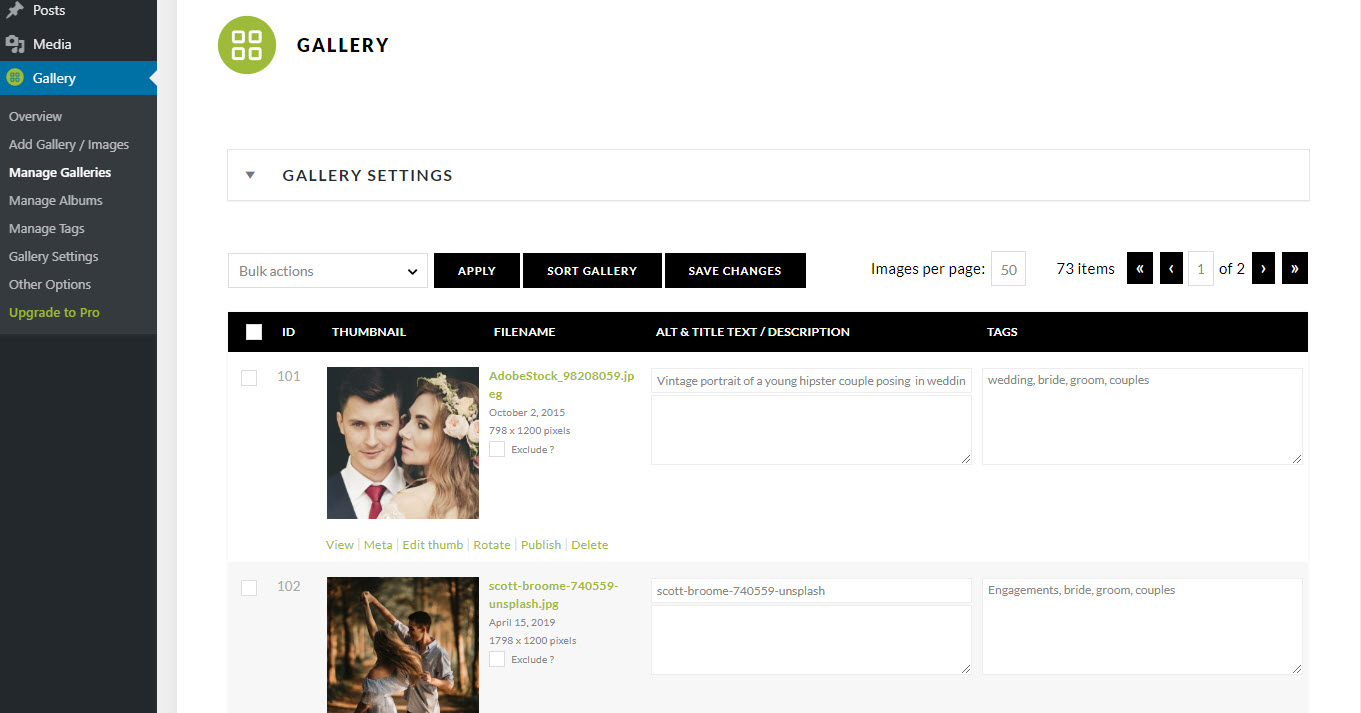 Manage Gallery Page