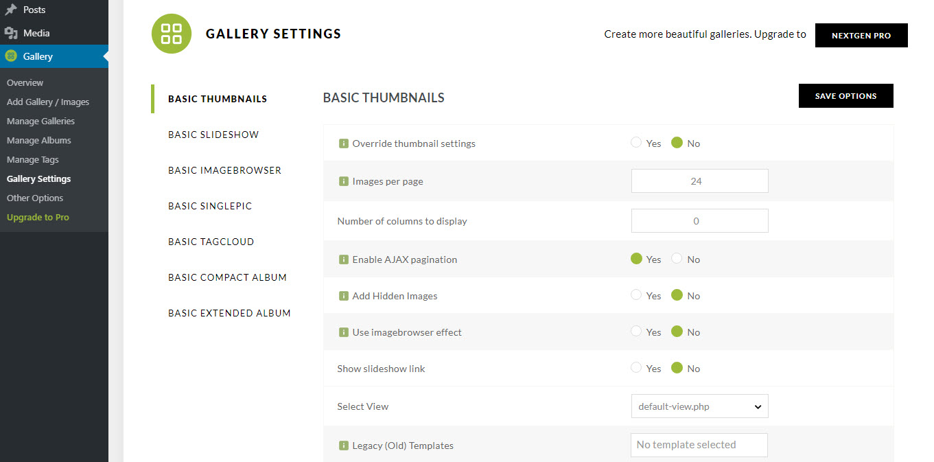 Gallery Settings Page