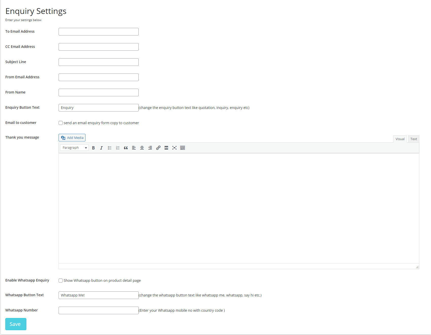 Product Enquiry Settings.