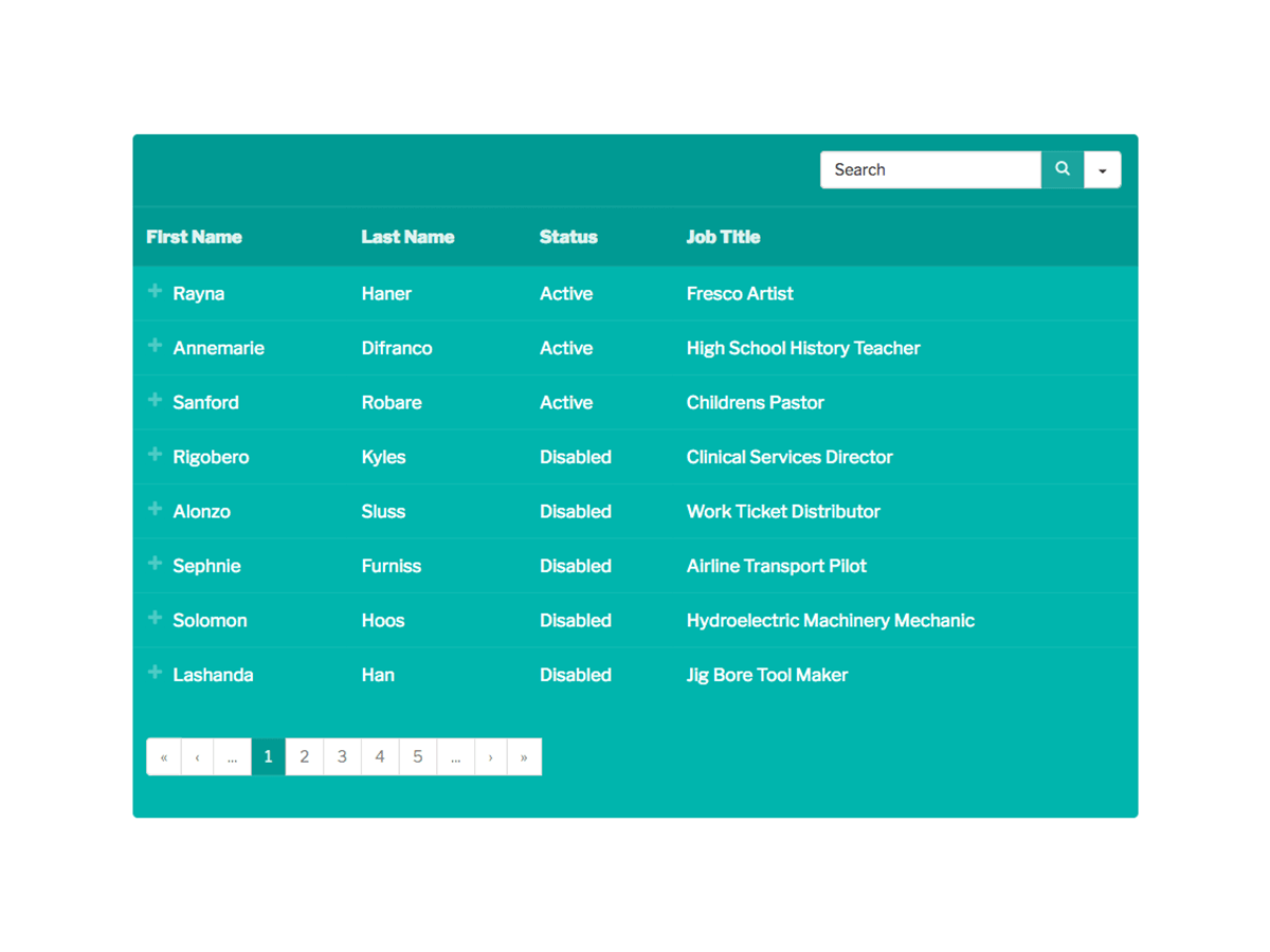 Teal Color Table View in Frontend