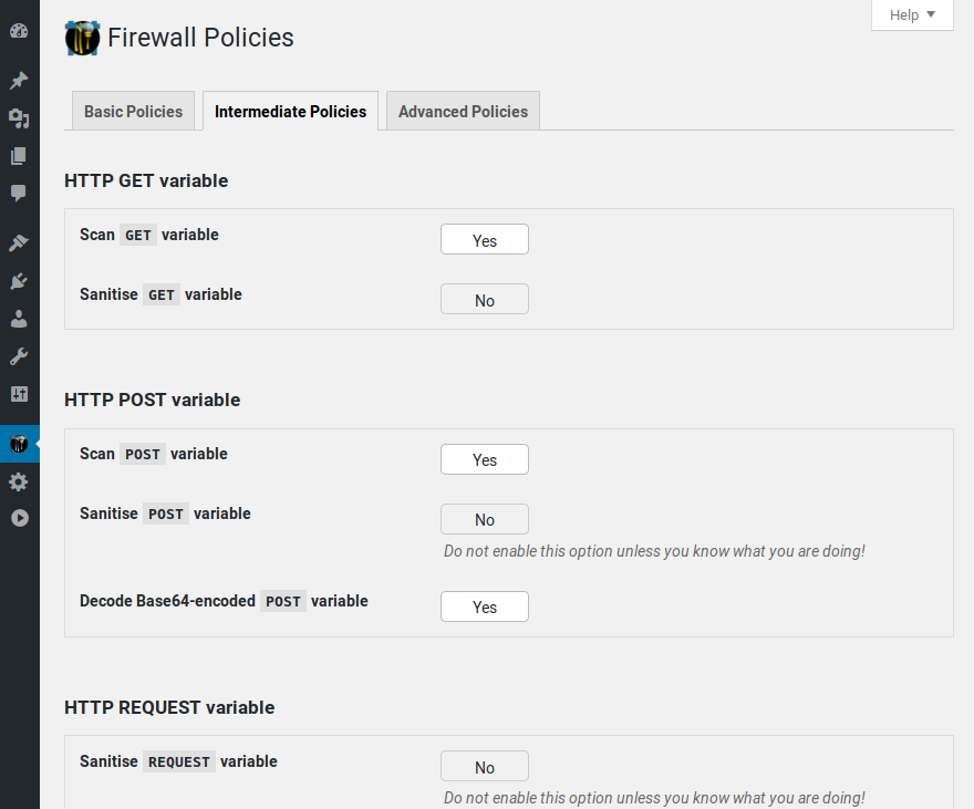 Policies pages 2/3: NinjaFirewall has a large list of powerful and unique policies that you can tweak accordingly to your needs.