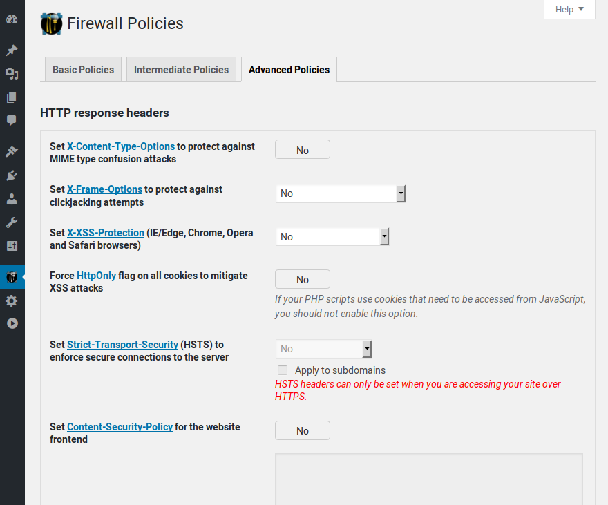 Policies pages 3/3: NinjaFirewall has a large list of powerful and unique policies that you can tweak accordingly to your needs.