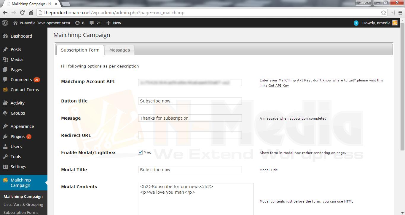 Enter Mailchimp API Key from <code>Admin / N-Media MailChimp / General Settings</code>