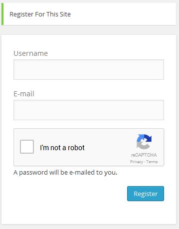 CAPTCHA in action at registration form