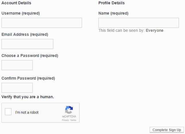 CAPTCHA in action at buddypress registration form