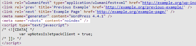 The source code for the page, the added meta tag is highlighted.