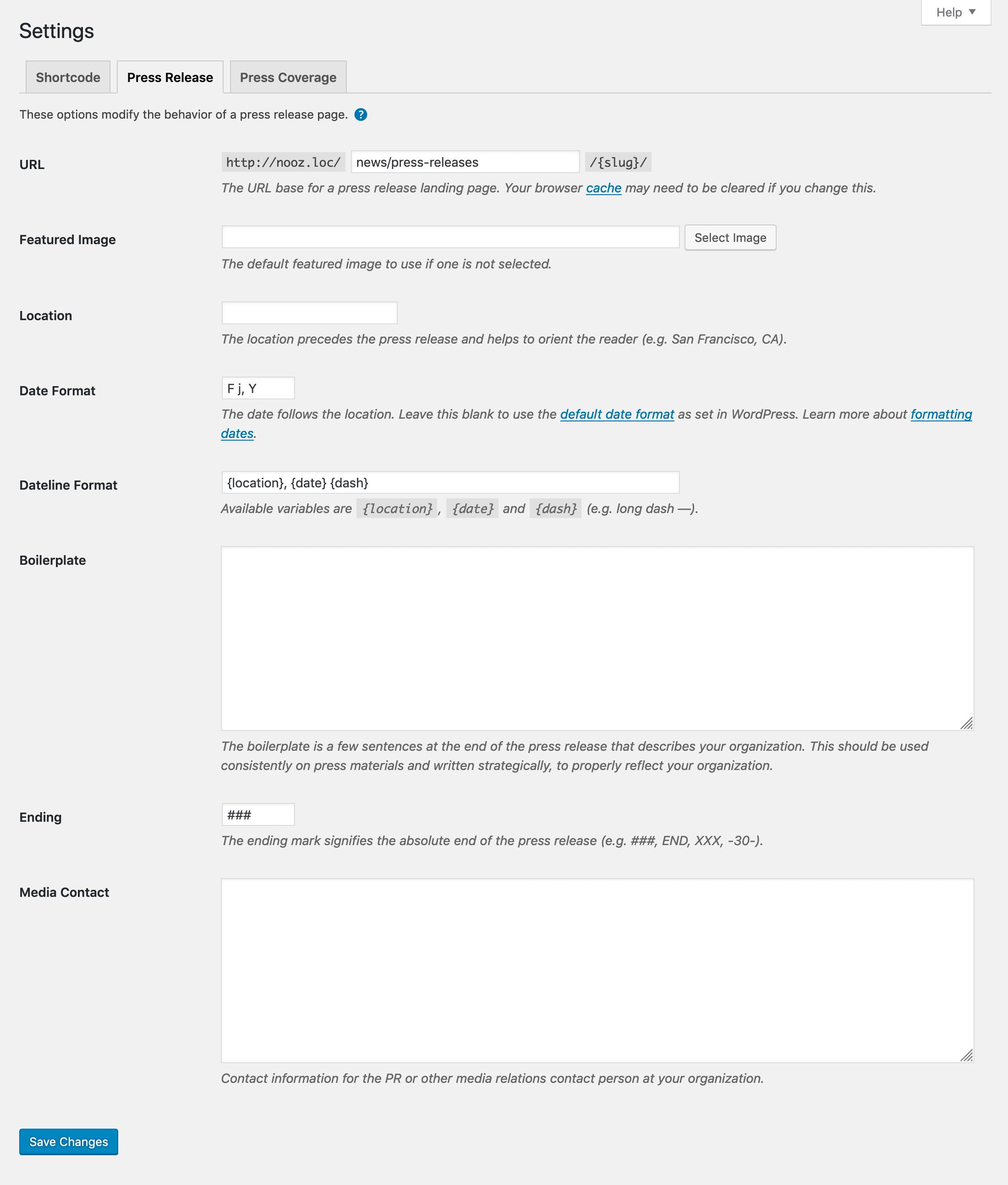 Press release settings