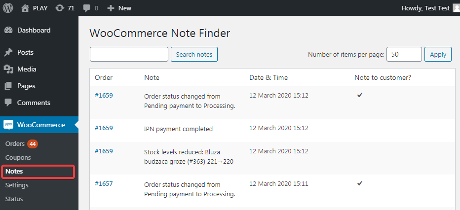 Search for WooCommerce notes easily through your admin panel