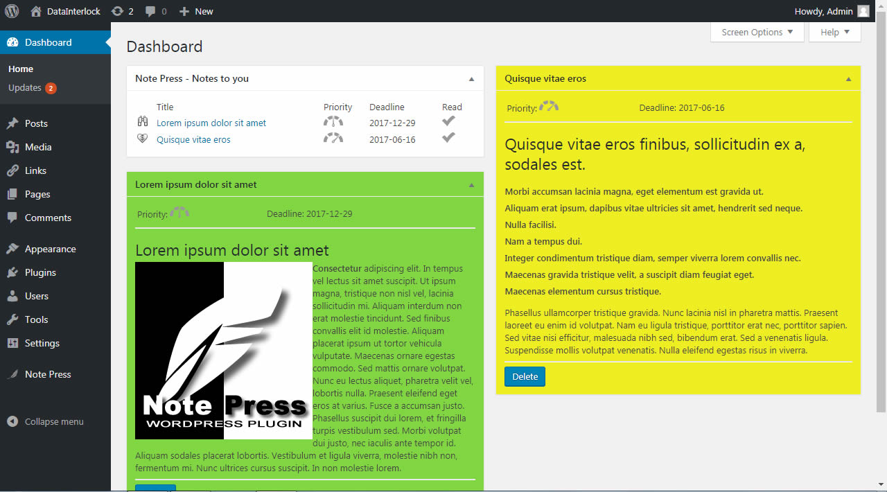 The WordPress Dashboard showing sticky notes in different colors and with media embedded.