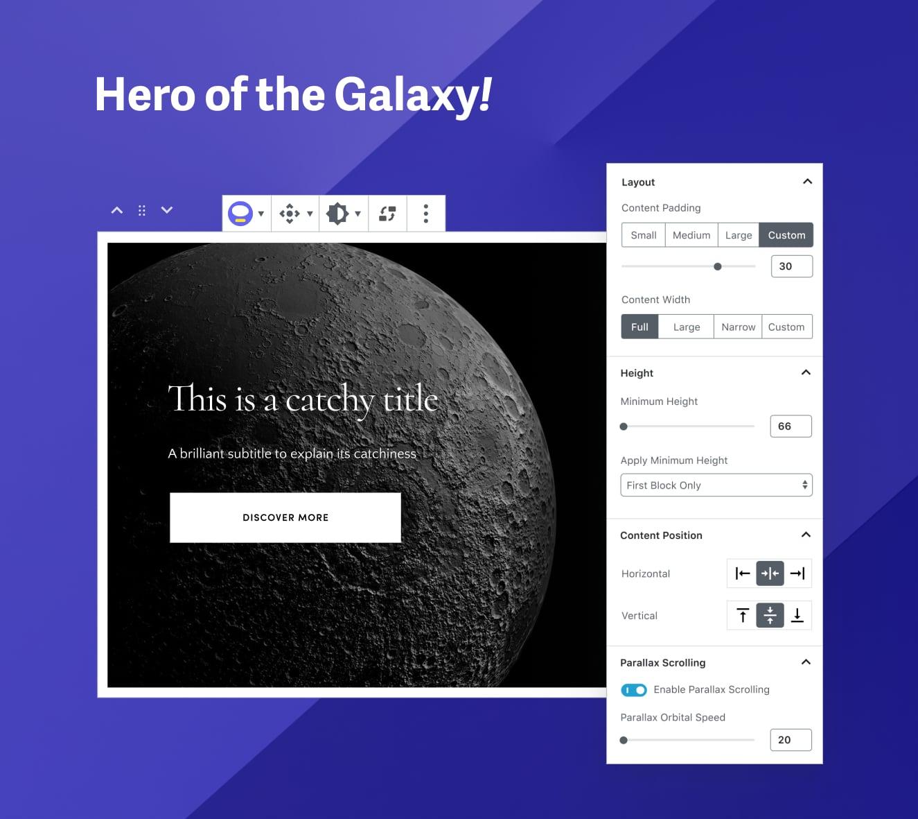 Hero of the Galaxy block options