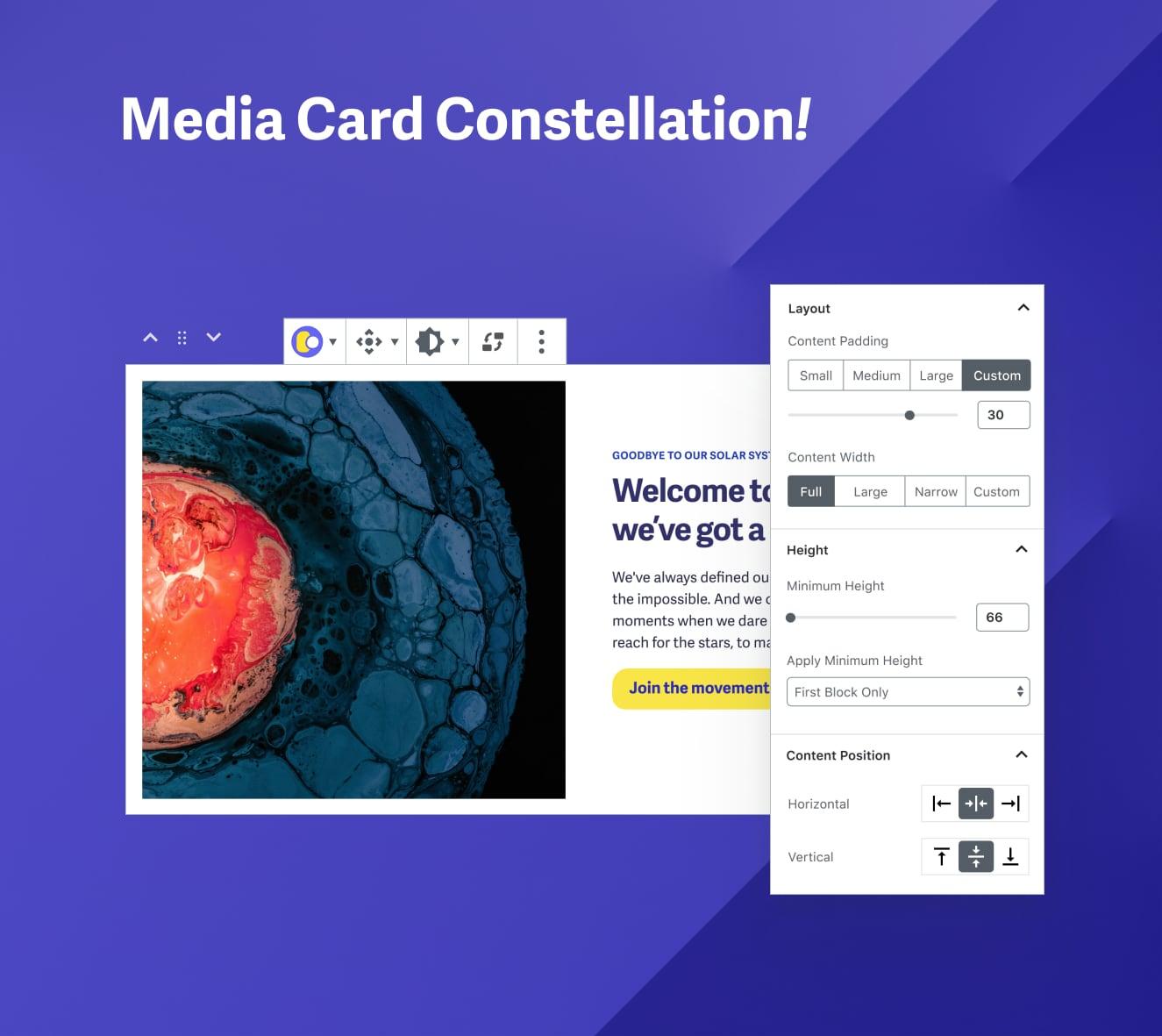 Media Card Constellation block options
