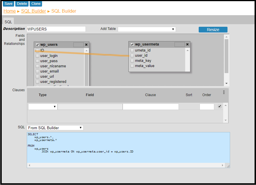 SQL builder GUI