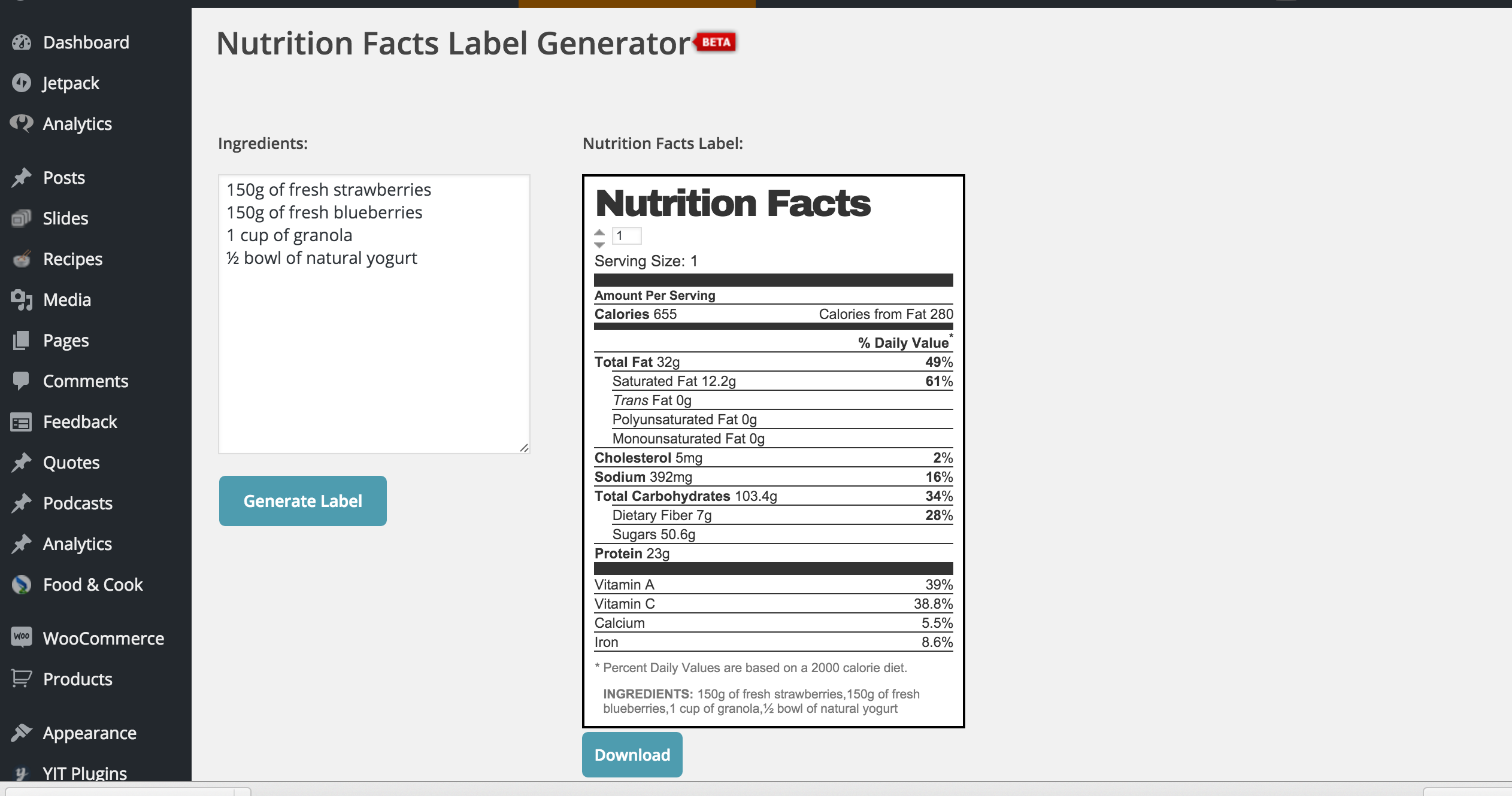 Generate Nutrition Facts Label
