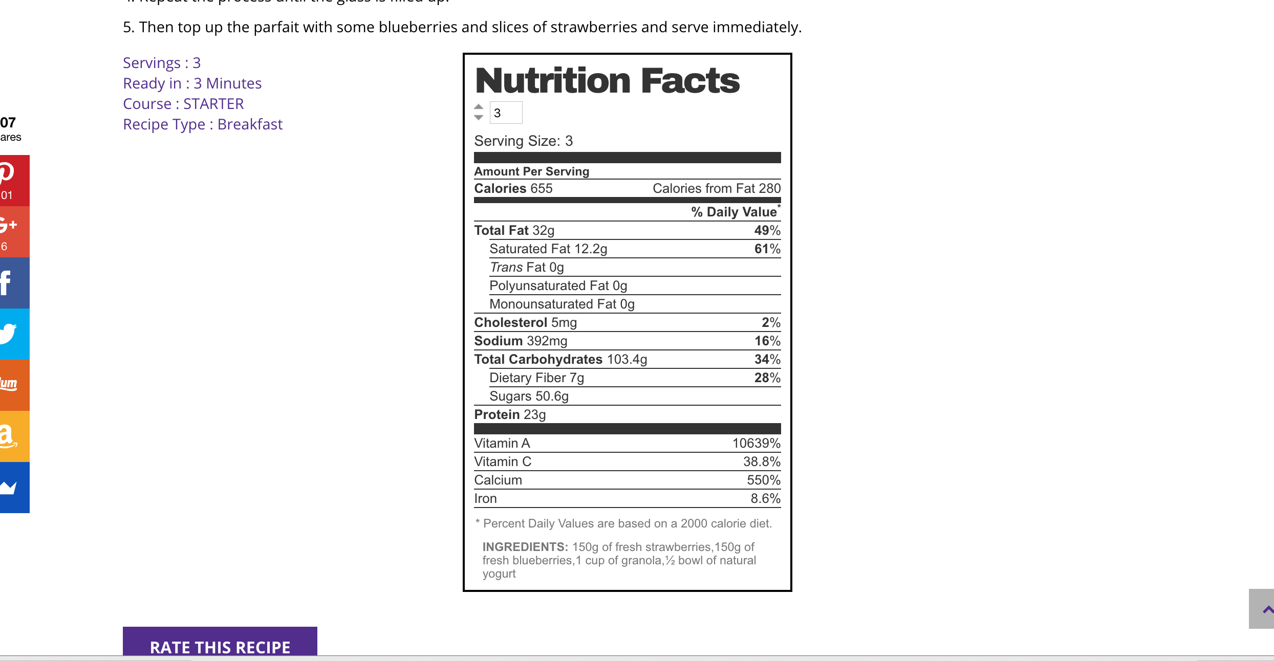 Sample on the recipe page.
