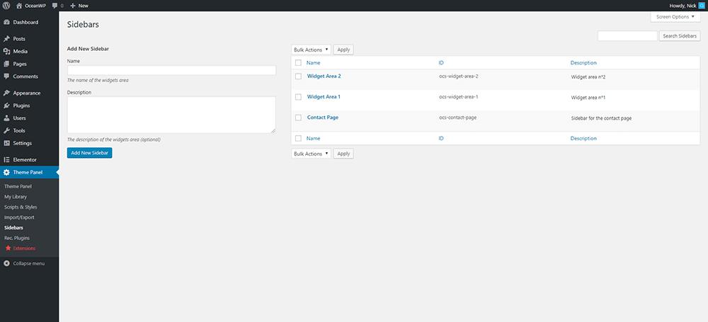 Create your new sidebar.