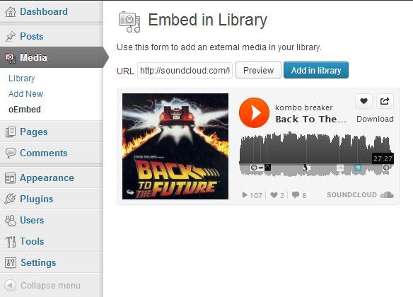 Adding a SoundCloud media