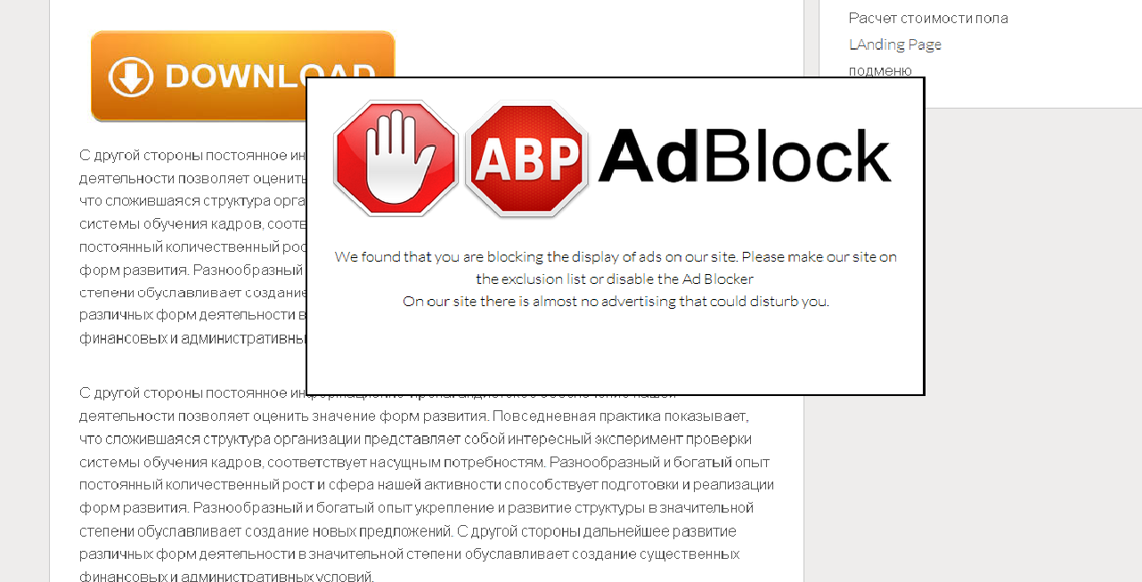 This window will be seen by the user with adblock enabled.