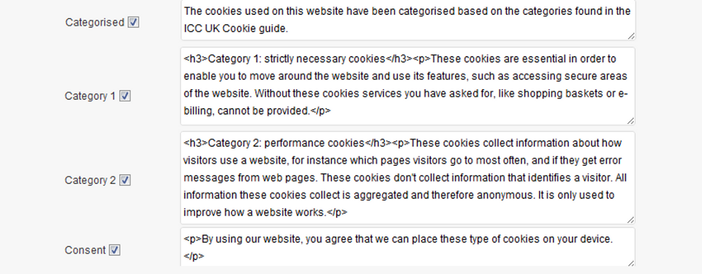 privacy policy: Cookie categories sections