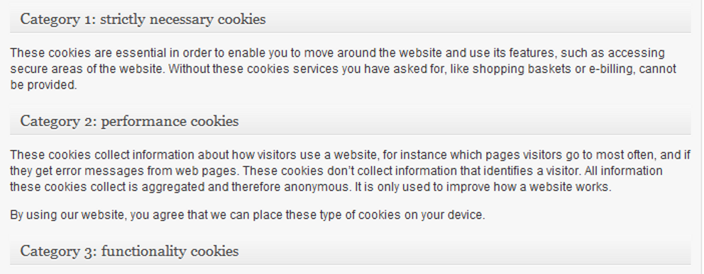 Preview: Cookie categories sections