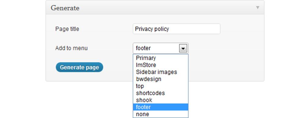 Generate page: set page title, choose menu