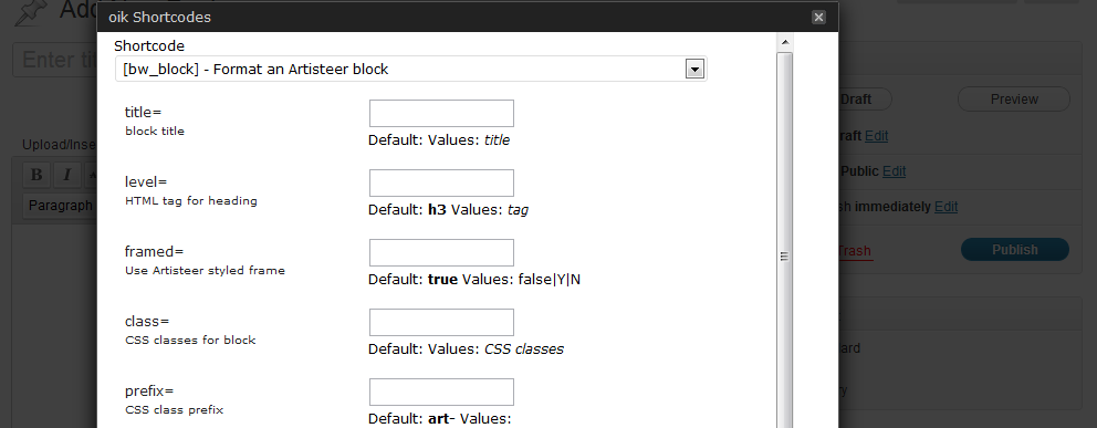 oik shortcodes dialog - showing syntax for [bw_block]
