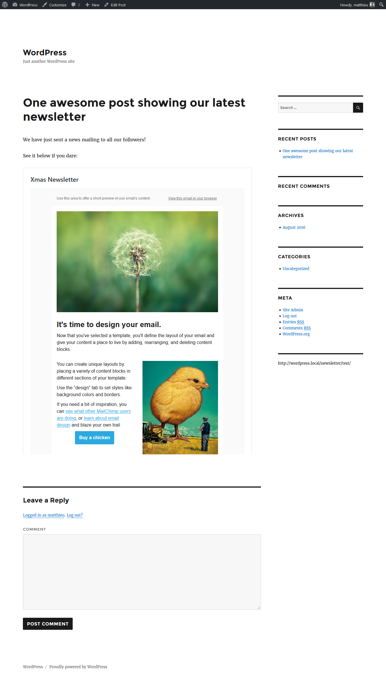 MailChimp Campaigns WordPressorg - Mailchimp press release template
