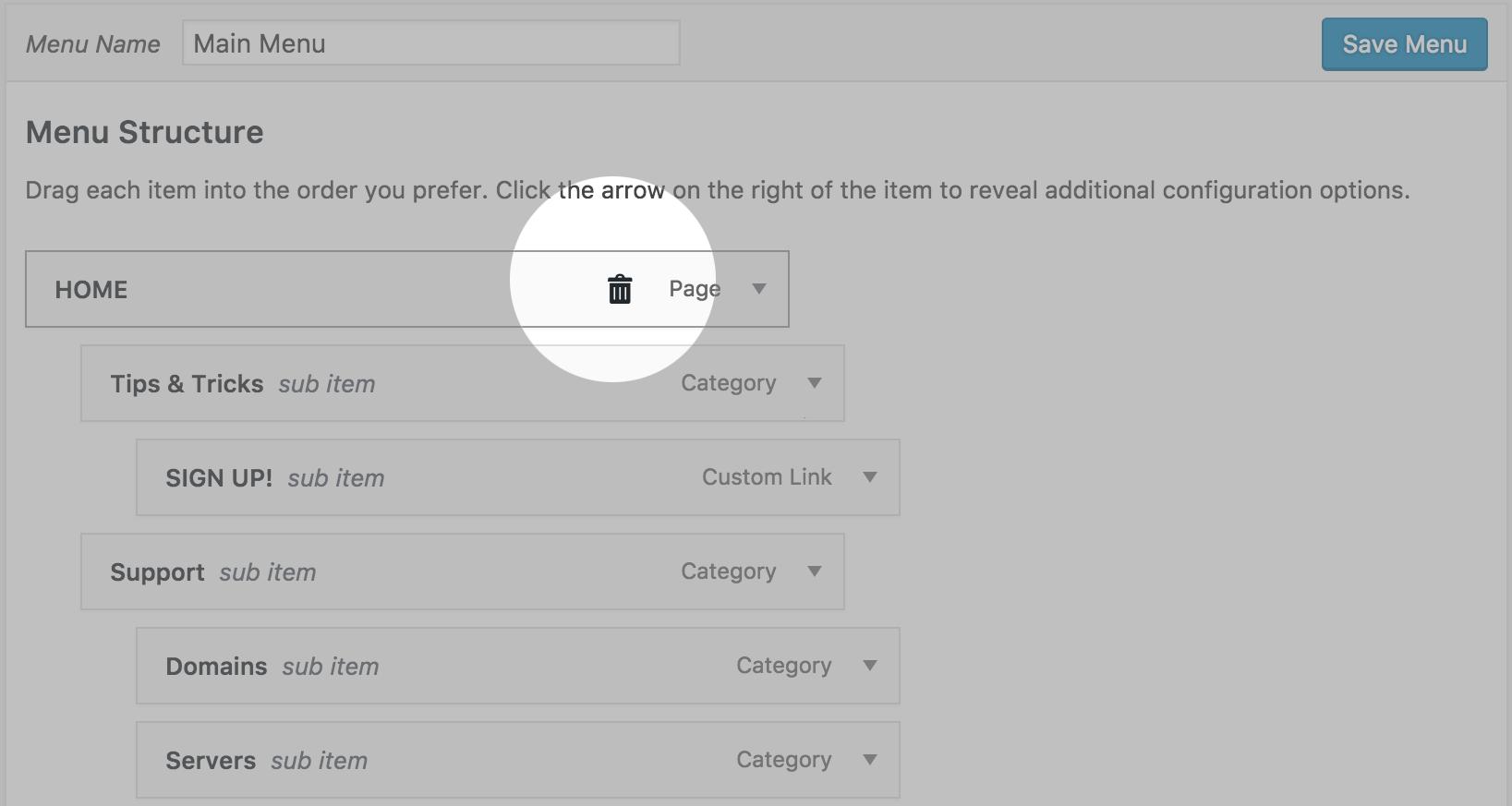 Demo one click remove menu item.