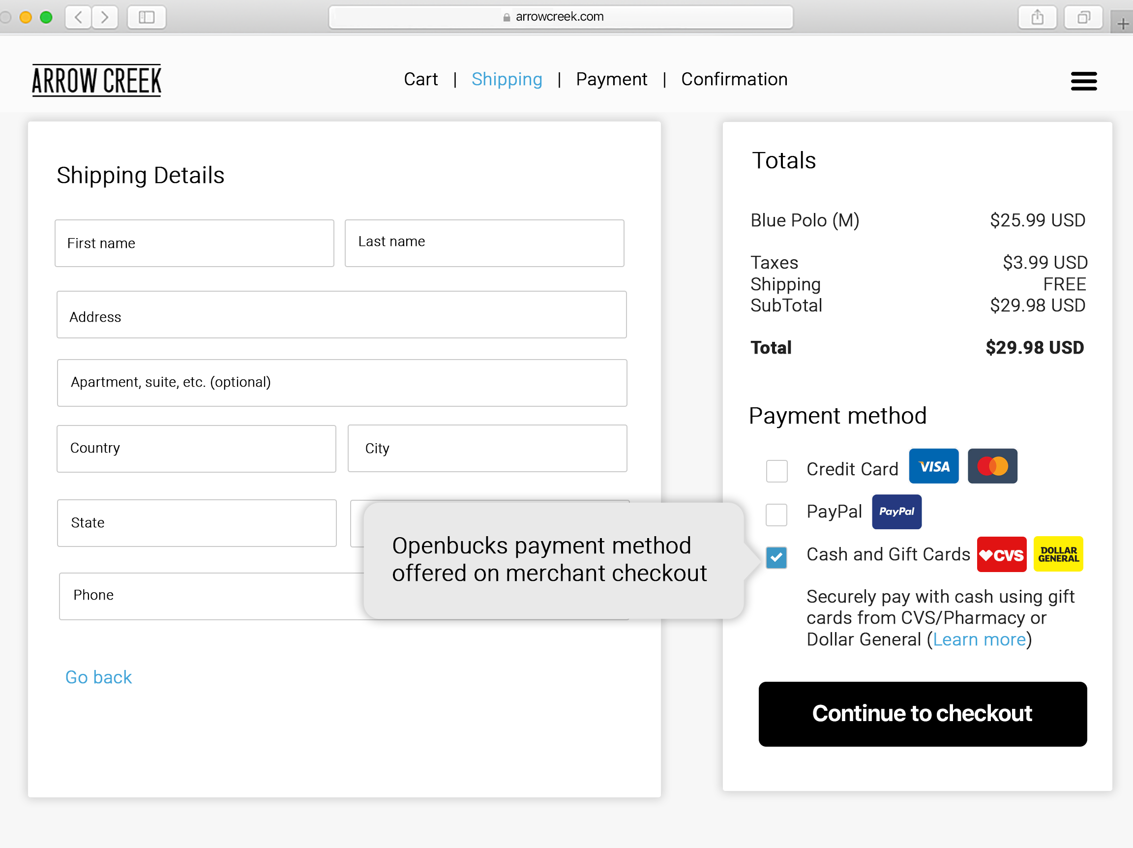 Openbucks payment method offered on merchant checkout
