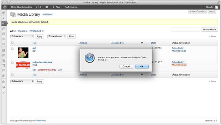 Optin Revolution Lite integration with WordPress Media Library.