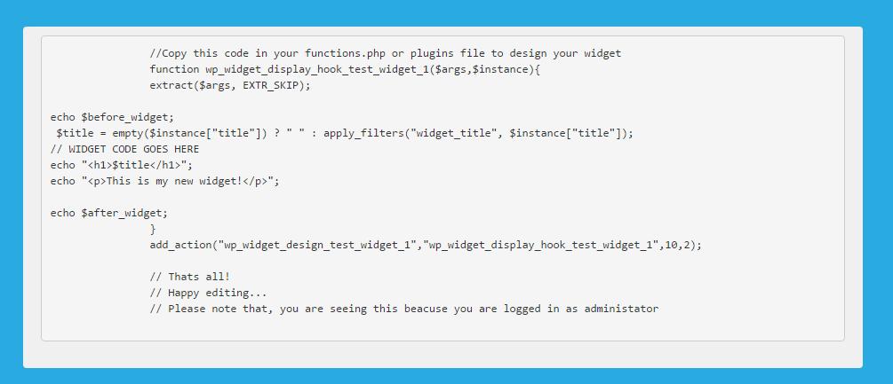 <p>Showing generated code to design widget</p>