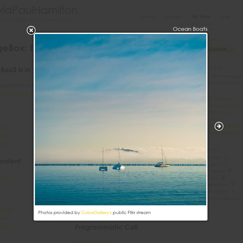 Image in OrangeBox with navigation arrows, caption, title, title link