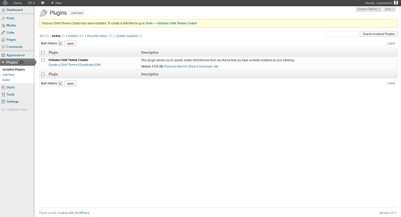 Plugin page after installation